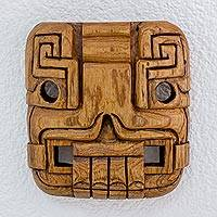 Cedar wood mask, 'Maya Duality' - Fair Trade Archaeological Wood Mask