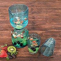 Blown glass carafe and glasses,
