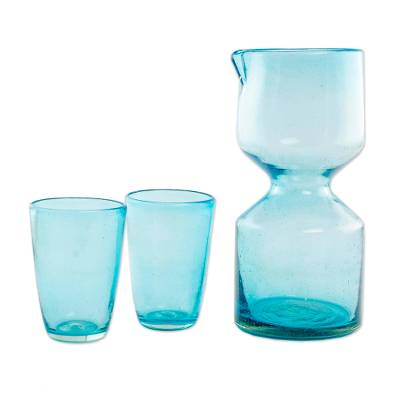 Handblown Recycled Glass Pitcher Set for 2