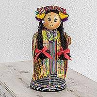 Pinewood and cotton display doll, 'San Juan Sacatepequez' - Pinewood and cotton display doll