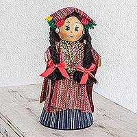 Pinewood and cotton display doll, 'Solola Lady' - Pinewood and cotton display doll
