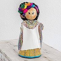 Pinewood and cotton display doll, 'San Cristobal Totonicapan' - Pinewood and cotton display doll