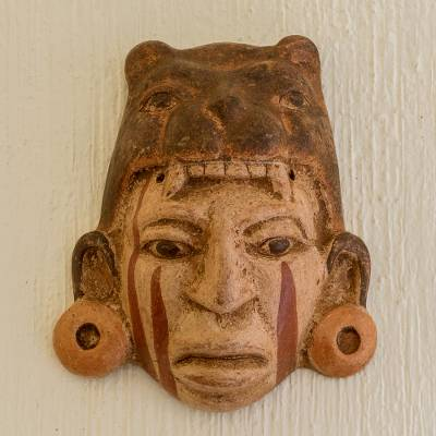 Ceramic mask, 'Maya Jaguar Priest' - Fair Trade Central American Ceramic Mask