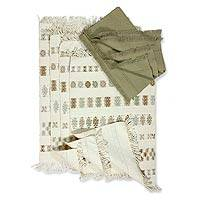 Cotton placemat and napkin set, 'Iconic Maya' (set of 4) - Cotton placemat and napkin set (Set of 4)