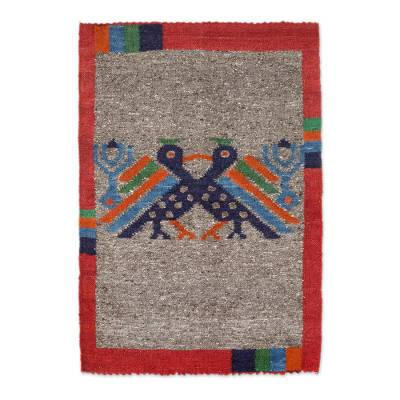 Wool rug, 'Maya Bird at Dusk' - Artisan Crafted Animal Themed Wool Area Rug