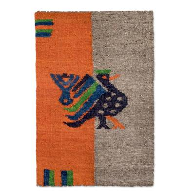 Wool rug, 'Maya Bluebird' - Animal Themed Wool Area Rug