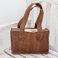 Maguey shoulder bag, 'Brown Maya Rose' - Floral Natural fibre Shoulder Bag