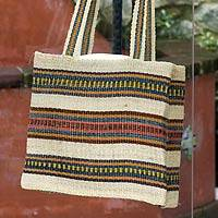 Maguey shoulder bag, 'Maya Meadow' - Striped Natural Fiber Shoulder Bag