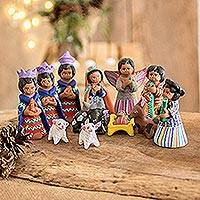 Ceramic nativity scene Chichicastenango set of 12 Guatemala