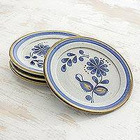 Ceramic salad plates, 'Blue Chrysanthemum' (set of 4) - Ceramic salad plates (Set of 4)