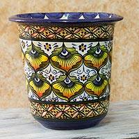 Ceramic flower pot, 'Peacock Plumes' - Ceramic flower pot