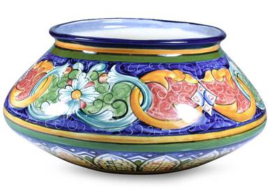 Ceramic flower pot, 'Creation' - Ceramic flower pot