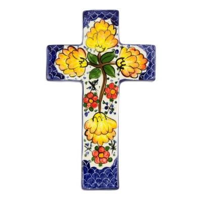 Fair Trade Floral Ceramic Cross