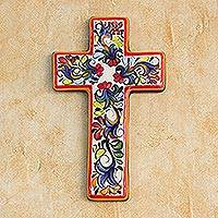 Ceramic cross, 'Floral Faith' - Ceramic cross