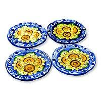 Ceramic dessert plates, 'Sunflowers' (set of 4) - Ceramic dessert plates (Set of 4)