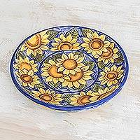 Ceramic serving plate, 'Sunflowers' - Ceramic serving plate
