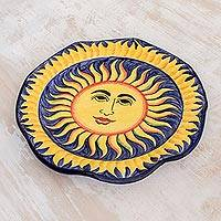 Ceramic serving plate, 'Sun of El Salvador' - Ceramic serving plate