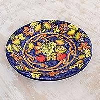 Ceramic serving plate, 'Celestial Fruit' - Ceramic serving plate