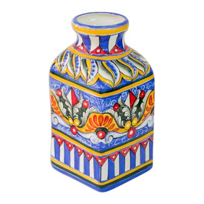 Ceramic vase, 'Flowers for You' - Ceramic vase