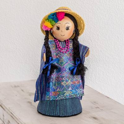 Pinewood and cotton display doll, 'Todos Santos Cuchumatan' - Pinewood and cotton display doll