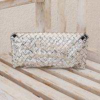 Recycled metalized wrapper clutch bag Eco Savvy Guatemala
