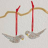 Ceramic ornaments, 'Magellan Plover' (pair) - Handcrafted Ceramic Grey Bird Ornament (Pair)