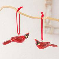 Ceramic ornaments, 'Cardinal' (pair) - Fair Trade Ceramic Bird Ornament (Pair)