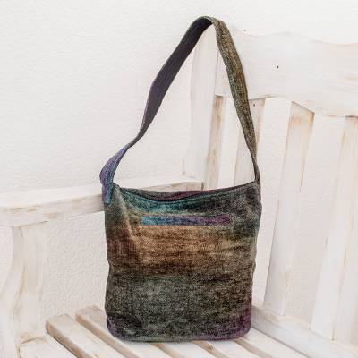 Chenille shoulder bag, 'Magic Forest' - Hand Made Bamboo Chenille Shoulder Bag