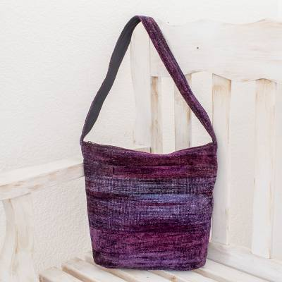 Bamboo chenille shoulder bag, 'Purple Magic' - Guatemala Handwoven Shoulder Bag