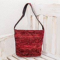 Bamboo chenille shoulder bag, 'Love' - Handcrafted Bamboo Chenille Shoulder Bag