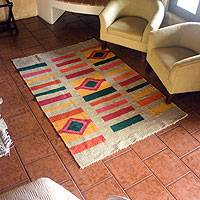 Wool rug, 'Geometric Colors' - Unique Wool Rug from Guatemala
