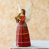 Ceramic figurine, 'Angel from San Rafael Petzal' (14 inch) - 14-Inch Handcrafted Angel Ceramic Figurine Sculpture