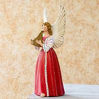 Ceramic figurine, 'Angel from Santiago Atitlan' (14 inch) - Hand Painted Ceramic Angel Figurine (14 Inch)