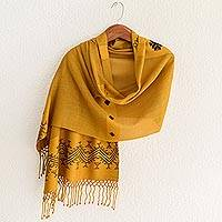 Shawl, 'Hillside Lullaby' - Unique Central American Embroidered Yellow Shawl