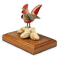 Ceramic figurine Red Rooster Guatemala