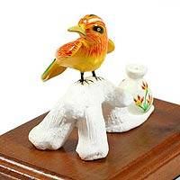 Ceramic figurine, 'New World Oriole' - Ceramic figurine
