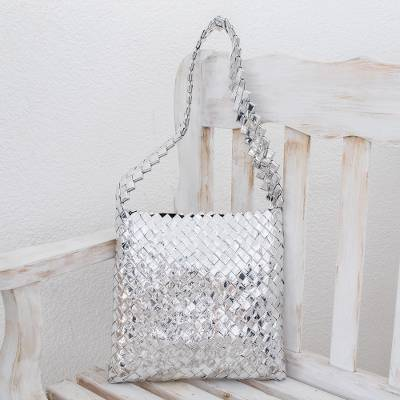 Recycled metalized wrapper shoulder bag, 'Moonlight' - Artisan Crafted Recycled Wrapper Shoulder Bag