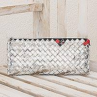 Recycled metalized wrapper clutch handbag Shimmer Guatemala