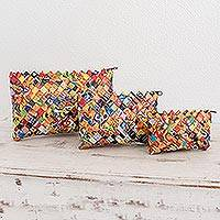 Recycled metalized wrapper cosmetic bags, 'Bright' (set of 3) - Set of 3 Recycled Cosmetic Bags from Guatemala