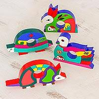 Pinewood napkin rings, 'Happy Animals' (set of 4) - Fair Trade Wood Napkin Rings (Set of 4)
