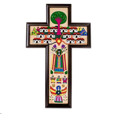 Guatemalan Hand Painted Wood Cross