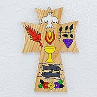 Pinewood cross, 'Bread of Life' - Religious Wood Wall Cross
