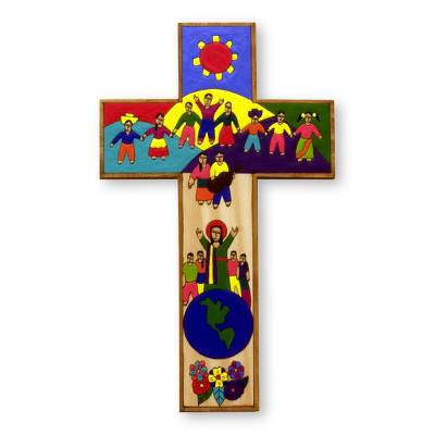 Unique Hand Painted Wood Cross