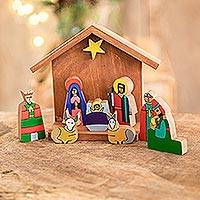 Pinewood nativity scene, 'Adoration' (8 pieces) - Pinewood nativity scene (8 Pieces)