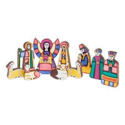 Pinewood nativity scene, 'Christmas Color' (11 pieces) - Handmade Religious Wood Nativity Scene Sculpture (11 Pieces)