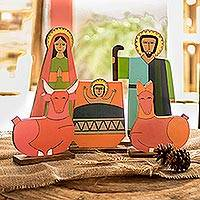 Pinewood nativity scene, 'Joy' (5 pieces) - Collectible Christianity Wood Sculpture (5 Pieces)