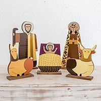 Pinewood nativity scene, 'Behold the Child' (5 pieces) - Pinewood nativity scene (5 Pieces)