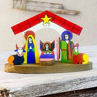 Pinewood nativity scene, 'Christmas in El Salvador' (set of 8)