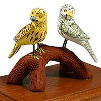 Ceramic figurine, 'Owl Friends' - Ceramic figurine