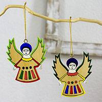 Pinewood ornaments, 'Angel Song' (set of 6) - Pinewood ornaments (Set of 6)